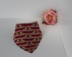 Handmade Red and Yellow diggers Bib, dribble bib, bandana bib, cotton, neutral, new baby gift, one size, adjustable