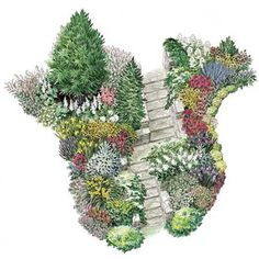 For a grand entry garden with summer-long color, winter interest, and a mix of textures, check out this planting plan. | Illustration: Rodica Prato | thisoldhouse.com