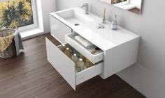 mobilier de baie alb Double Vanity, Bathroom, Design, Bath Room, Bathrooms, Bath, Design Comics, Bathing