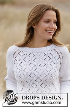 Knitted jumper with raglan in DROPS Big Merino. Piece is knitted top down with lace pattern. Size: S - XXXL Drops Design, Finger Knitting, Free Knitting, Knitting Machine, Baby Knitting Patterns, Scarf Patterns, Crochet Patterns, Hand Crochet, Knit Crochet