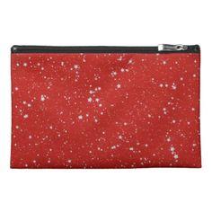 Glitter Stars - Silver Red Travel Accessory Bag - accessories accessory gift idea stylish unique custom