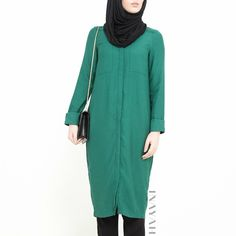 INAYAH | Green Shirt #Dress + Black Knitted #Tapered Trousers + Black Jersey #Hijab www.inayahcollection.com #modestfashion#modesty#modeststreestfashion#hijabfashion#modeststreetstyle#modestabayas#modestdresses