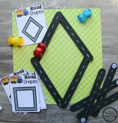 Preschool Transportation Unit Shapes - Giant Craft Stick Roads #preschool #transportationunit #planningplaytime Transportation Preschool Activities, Transportation Worksheet, Pre K Activities, Preschool Lessons, Preschool Crafts, Preschool Themes, Preschool Classroom, Summer Crafts For Toddlers, Creative Curriculum