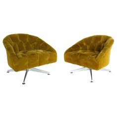Pair of Ward Bennet Aluminum Base Button-Tufted Swivel Chairs | From a unique collection of antique and modern lounge chairs at https://www.1stdibs.com/furniture/seating/lounge-chairs/