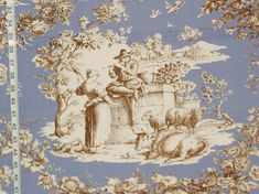 French blue Toile de Jouy fabric blue country colonial Double wide from Brick House Fabric: Novelty Fabric