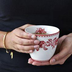 Tasse en porcelaine sans anse de Greengate collection fleur red