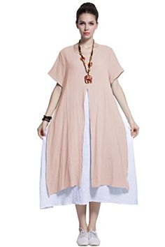 a4cd92373a6 Fake-Two-Piece Soft Linen Cotton Dress Spring Summer Plus Size Clothing