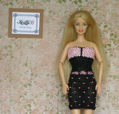 12 inch party dress Black knit dress and pink shoes by KnittyforB