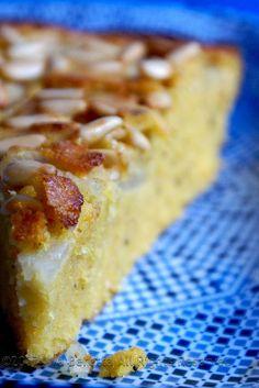 PEAR & PINE NUT POLENTA CAKE Crepes, Polenta Cakes, Gluten Free Cakes, Pear, Desserts, Noodle, Savory Snacks, Easy Trifle Recipe, Healthy Recipes