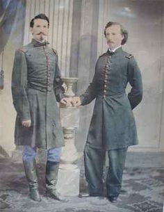 Reportedly one of the rarest Civil War images of young George Armstrong Custer attributed to skilled photographer, Henry Ulke, taken at the end of April 1863 in the Ulke Washington D.C. studio. This large hand water colored tinted imperial sized Salt print shows Custer with his close friend from West Point, Captain Leroy Elbert.
