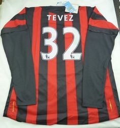 Tevez 32 Manchester City Football Shirt MCFC Long Sleeve Away 2011 Size XL  Everton 9ca22da85