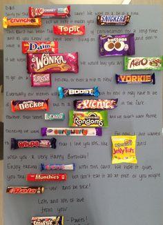 Ideas Birthday Gifts For Girls Diy Friends Valentines Day Candy Birthday Cards, Birthday Presents For Mum, Mum Birthday Gift, Birthday Crafts, Birthday Gifts For Girls, Birthday Ideas For Mum, 50th Birthday, Mum Presents, Candy Bar Cards