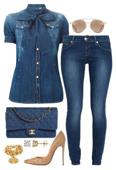 """Denim on Denim"" by fashionkill21 ❤ liked on Polyvore featuring Chanel, Dsquared2, 7 For All Mankind, Christian Louboutin, Christian Dior and Versace"