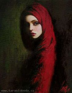 Don't know the artist - beautiful painting, I assume of Little Red Riding Hood.