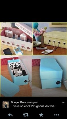 DIY hiding cords & power bars. A knick knack shelf near a wall mounted t.v. could hold pretty boxes full of ugly cords.