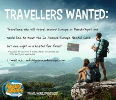 Are you travelling trough #Europe in March or April this year? We're looking for #Travellers who are interested in helping us out! Send us an email and we'll get back to you!  #backpacker #hostels #trip
