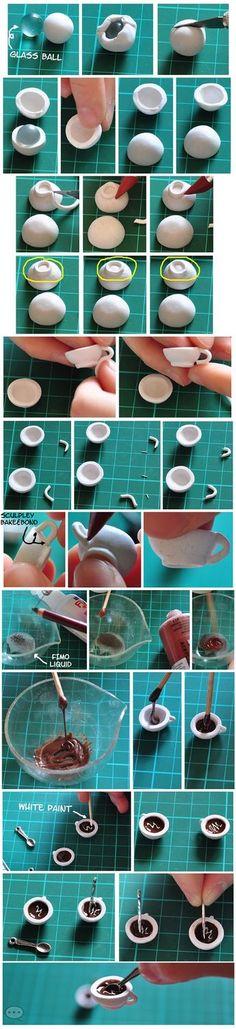 Tutorial para realizar taza de café en miniatura en arcilla polimérica/ polymer clay / DIY