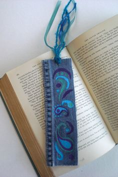 Hand-Painted Up-Cycled Denim Bookmark in paisley design - available on Etsy. A great gift for the reader in your life.