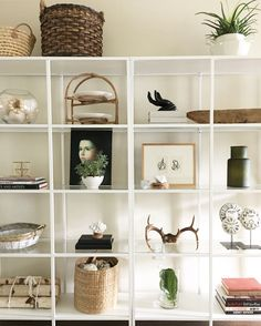 Ikea Vittsjo bookcase styling. Eclectic home decor
