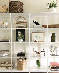 Ikea Vittsjo bookcase styling. Eclectic home decor