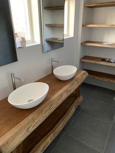 Bathroom Bench, Small Bathroom, Master Bathroom, Modern Bathroom Design, Bath Design, Bathroom Interior Design, Live Edge Countertop, Bathroom Countertops, My French Country Home