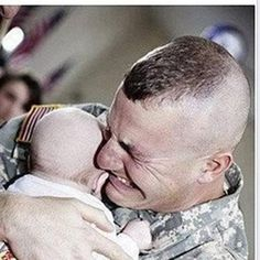 Wow ... the first time he'd seen his baby ..... he was over seas when his baby was born.