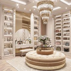 This space is where you start your day and this bright luxury design will bring you peacefulness to start off your day with a very well-organized walk-in closet. #closets #walkinclosets #closetideas #walkinclosetideas #walkinclosetdesign #walkinclosetdecor #luxurywalkincloset #pinkclosets #femininewalkinclosets #pinkwalkincloset #luxuryclosets #elegantclosets #sophisticatedclosets #dreamwalkinclosets #interiordesigndecor #bedroomdecor #bedroomideas #closetsforgirls #closetsformen… Bedroom Closet Design, Home Room Design, Dream Home Design, Home Interior Design, House Design, Luxury Bedroom Design, Closet Designs, Tanzstudio Design, Design Case