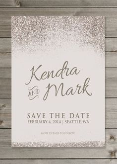 Perfect Save the Date Wedding Ideas We Love - Gaia Design Studios also has bachelorette party/bridal party invites Save The Date Invitations, Wedding Invitation Wording, Wedding Stationary, Save The Date Cards, Invitation Design, Save The Date Wording, Glitter Wedding Invitations, Invitation Envelopes, Mod Wedding