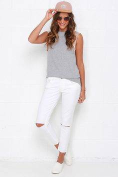 Hey Batter Batter Blush Pink and Heather Grey Top at Lulus.com!