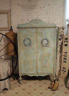 Vintage Painted Cottage Shabby Armoire