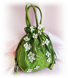 Bridal Silk Drawstring Purse  Clover Green and Ivory by All4Brides, $35.00