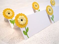 Daisy Place Cards Yellow Flower Whimsical Food Buffet Tents Baby or Bridal Shower Garden Party Seating Cards - Set of 6 on Etsy, $7.50