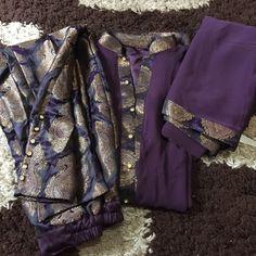 JC16-001 Simple Casual Georgette Dress with Jamawar Trousers, Georgette Dupatta!  #banarsi #jamawar #dress #fashion #casual #eknitwear