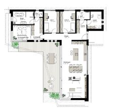 Kötz Haus - Solid brick and turnkey - Room inspiration Open Floor House Plans, New House Plans, Modern House Plans, Small House Plans, Home Building Design, Building A House, House Design, L Shaped House Plans, Casas Containers