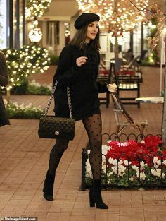 Chic star: Olivia Culpo, 26, gave a very leggy display during a holiday shopping spree in Los Angeles on Saturday Black Dress And Tights, Black Fedora Outfit, Gray Dress Outfit, Black Turtleneck Outfit Winter, Skirt Outfits For Winter, Formal Winter Outfits, Fall Outfits, Urban Chic Fashion, Look Fashion