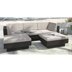Shop for Sonax 'Park Terrace' Textured Black 5-piece Sectional Patio Set. Get free delivery at Overstock.com - Your Online Garden
