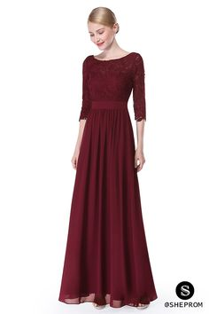 Try this gorgeous burgundy long formal dress with sleeves now! Shop with cheap price and free shipping!