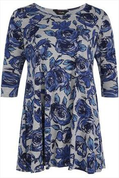 Blue+And+Grey+Floral+Print+Flare+Longline+Top+48526