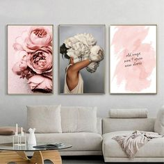 Set of 3 posters Floral Fashion Women Portrait Photography Canvas Painting For Living Room Scandinavian Home Decor Wall Art Printable Gift Modern Art Prints, Modern Wall Art, Room Deco, Fashion Wall Art, Room Posters, Floral Wall Art, Living Room Art, Luxury Home Decor, Home Decor Wall Art