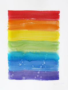Rainbow flag Original watercolor painting Rainbow watercolor
