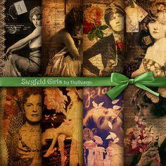 ZIEGFELD GIRLS Vintage Girls Vintage Paper Scrapbook by HajDesign, $2.50
