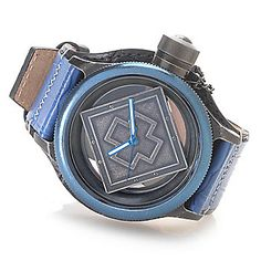 c0b79385284 Invicta 52mm Russian Diver Ghost Quartz Distressed Stainless Steel Case  Leather Strap Watch Stainless Steel Case