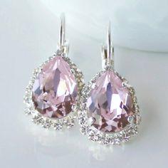 Pink Rosaline Teardrop Crystals Framed with by CJRoseBoutique