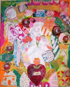 Boho Mary Mixed Media Collage Painting by createinspirebelieve