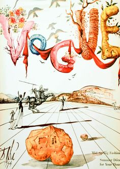 This whimsical cover illustration for Vogue magazine was drawn by the famous artist Salvador Dalí. Appearing on the April 1, 1944, issue, it features letters denoting spring, birds flying in the air forming Dali's visage, and a mystical, surreal landscape.   vogue - april 1944 // salvador dalí... [http://www.condenaststore.com/-sp/Vogue-Cover-April-1944-Prints_i8487541_.htm]