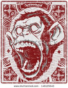 Angry monkey / Also available in separate layer the original vector without scratch by Tshirt Designs, via ShutterStock