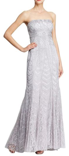 """Sue Wong Silver N3448 Strapless Gown Dress. Free shipping and guaranteed authenticity on Sue Wong Silver N3448 Strapless Gown Dress at Tradesy. Size 8 Bust: 34 1/2 - 35"""" Waist: 26 1/2 - 27"""" Hips..."""