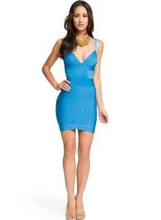 Bqueen V-neck Bandage Dress Blue   Designer: Bqueen  $99.00