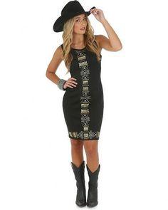 Rock 47® by Wrangler® Sleeveless Scuba Dress with Studs Down the Center - Black - Keffeler Kreations | HilltopBoutique.com - 1