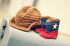 Crochet cowboy hat and boots. Oh so cute!!!